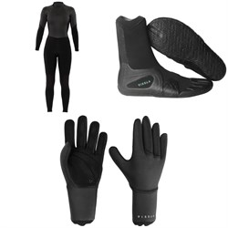 Sisstrevolution 4​/3 7 Seas Back Zip Wetsuit - Women's ​+ Vissla 7 Seas 3mm Split Toe Wetsuit Boots ​+ Vissla 7 Seas 3mm Wetsuit Gloves