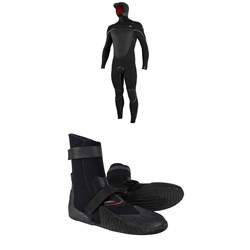 O'Neill 5.5​/4​+ Psycho Tech Chest Zip Hooded Wetsuit ​+ O'Neill Heat 5mm Round Toe Boots