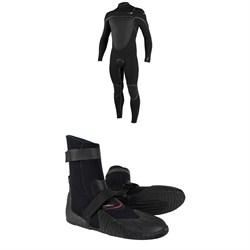 O'Neill 4/3+ Psycho Tech Chest Zip Wetsuit + O'Neill Heat 3mm Round Toe Boots