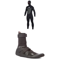 Rip Curl 4​/3 Flashbomb Hooded Wetsuit ​+ Flashbomb 3mm Hidden Split Toe Boots