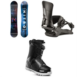 Nitro Prime Overlay Wide Snowboard ​+ Nitro Rambler Snowboard Bindings ​+ thirtytwo STW Boa Snowboard Boots
