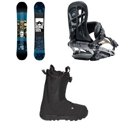 Rome Reverb Rocker SE Snowboard  + 390 Boss Snowboard Bindings  + Burton Moto Boa Snowboard Boots 2018