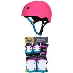 Triple 8 Sweatsaver Liner Skateboard Helmet + 187 Junior Skateboard Pad Set - Kids'