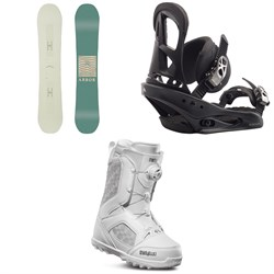Arbor Poparazzi Rocker Snowboard + Burton Stiletto Snowboard Bindings + thirtytwo STW Boa Snowboard Boots - Women's
