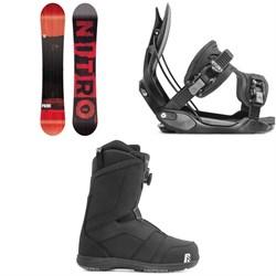 Nitro Prime Screen Snowboard + Flow Alpha Snowboard Bindings + Nidecker Ranger Boa Snowboard Boots 2020