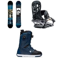 Rome Reverb Rocker SE Snowboard 2019 + 390 Boss Snowboard Bindings 2019 + DC Control Boa Snowboard Boots