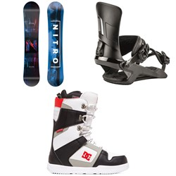 Nitro Prime Overlay Snowboard + Nitro Rambler Snowboard Bindings + DC Phase Snowboard Boots