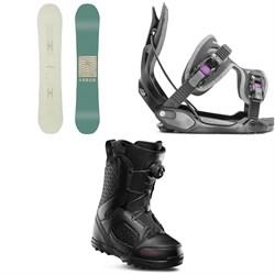 Arbor Poparazzi Rocker Snowboard + Flow Haylo Snowboard Bindings + thirtytwo STW Boa Snowboard Boots - Women's 2019
