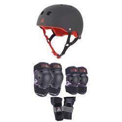 Triple 8 Sweatsaver Liner Skateboard Helmet + Saver Series Color Collection Skateboard JR Pad Set
