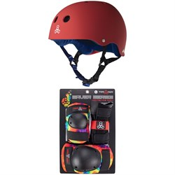 Triple 8 Sweatsaver Liner Skateboard Helmet ​+ Saver Series Color Collection Skateboard Pad Set
