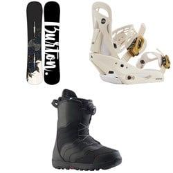 Burton Hideaway Snowboard + Scribe Snowboard Bindings + Mint Boa Snowboard Boots - Women's 2021