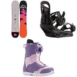 Burton Yeasayer Snowboard + Scribe Snowboard Bindings + Mint Boa Snowboard Boots - Women's 2021