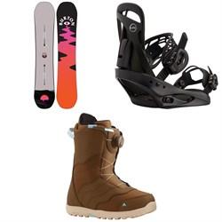 Burton Yeasayer Flying V Snowboard + Scribe Snowboard Bindings + Mint Boa Snowboard Boots - Women's 2021