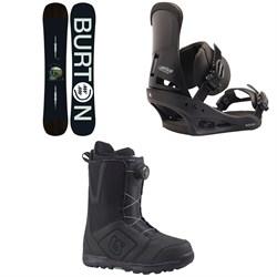 Burton Instigator Snowboard  + Custom Snowboard Bindings  + Moto Boa Snowboard Boots 2018