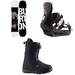 Burton Instigator Snowboard + Freestyle Snowboard Bindings + Moto Boa Snowboard Boots 2021