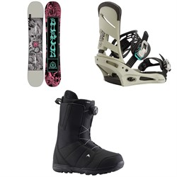 Burton Descendant Snowboard + Mission Snowboard Bindings + Moto Boa Snowboard Boots 2021