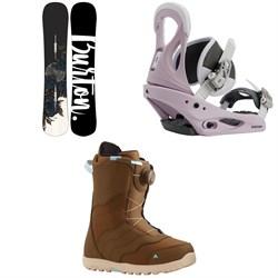 Burton Hideaway Snowboard - Women's + Citizen Snowboard Bindings + Mint Boa Snowboard Boots - Women's 2021