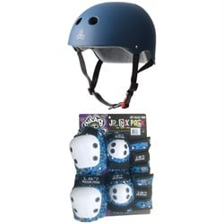 Triple 8 The Certified Sweatsaver Skateboard Helmet ​+ 187 Junior Six Pack Skateboard Pad Set - Little Kids'