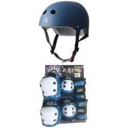 Triple 8 The Certified Sweatsaver Skateboard Helmet + 187 Junior Six Pack Skateboard Pad Set - Little Kids'