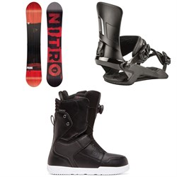 Nitro Prime Screen Snowboard + Nitro Rambler Snowboard Bindings + DC Scout Boa Snowboard Boots