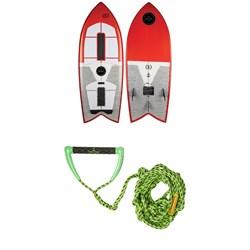 Ronix Koal Technora Powerfish+ Wakesurf Board + Proline x evo LGS Surf Handle + 25 ft Air Line