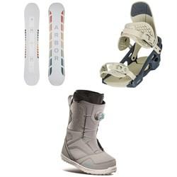 Arbor Poparazzi Rocker Snowboard + Arbor Acacia Snowboard Bindings + thirtytwo STW Boa Snowboard Boots - Women's 2021