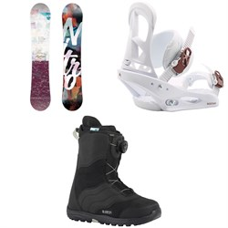 Nitro Mystique Snowboard  + Burton Stiletto Snowboard Bindings  + Burton Mint Boa Snowboard Boots - Women's 2018