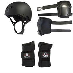 Triple 8 Sweatsaver Liner Skateboard Helmet + 187 Slim Knee Pads + Triple 8 Wristsaver Slide On Wrist Guards