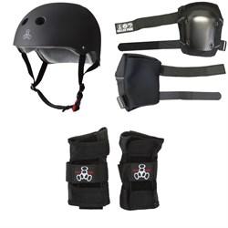 Triple 8 The Certified Sweatsaver Skateboard Helmet + 187 Slim Knee Pads + Triple 8 Wristsaver Slide On Wrist Guards