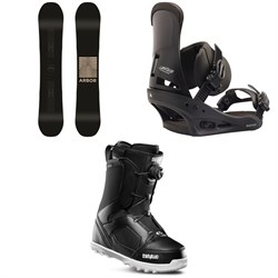 Arbor Formula Rocker Snowboard + Burton Custom Snowboard Bindings + thirtytwo STW Boa Snowboard Boots 2020