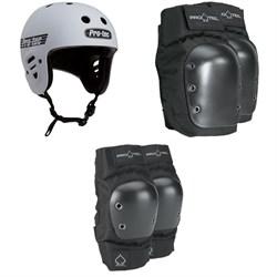 Pro-Tec Full Cut Certified Skateboard Helmet + Street Skateboard Knee Pads + Street Skateboard Elbow Pads