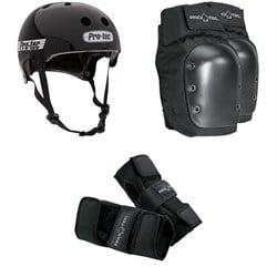 Pro-Tec Old School Certified Skateboard Helmet + Skateboard Knee Pads + Street Skateboard Wrist Pads