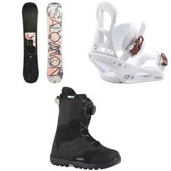 Salomon Wonder X Snowboard  + Burton Stiletto Snowboard Bindings  + Mint Boa Snowboard Boots - Women's 2018