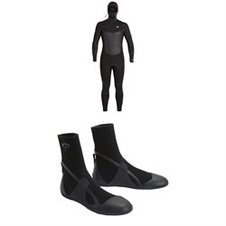 Billabong 5​/4 Absolute ​+ Chest Zip Hooded Wetsuit ​+ 5mm Absolute Round Toe Wetsuit Boots