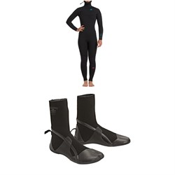 Billabong 5​/4 Synergy Chest Zip Hooded Wetsuit ​+ 5mm Synergy HT Split Toe Wetsuit Boots - Women's