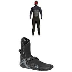 XCEL 5/4 Infiniti Hooded Wetsuit + 5mm Drylock Split Toe Wetsuit Boots