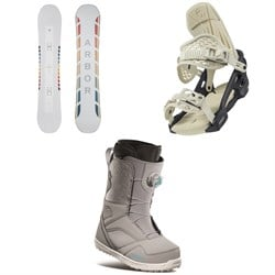 Arbor Poparazzi Camber Snowboard ​+ Arbor Acacia Snowboard Bindings ​+ thirtytwo STW Boa Snowboard Boots - Women's 2021