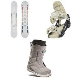Arbor Poparazzi Camber Snowboard + Arbor Acacia Snowboard Bindings + thirtytwo STW Boa Snowboard Boots - Women's 2021