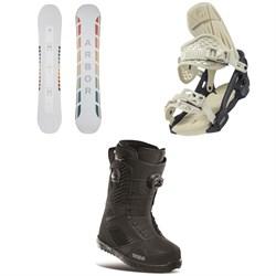 Arbor Poparazzi Rocker Snowboard + Arbor Acacia Snowboard Bindings + thirtytwo STW Double Boa Snowboard Boots - Women's 2021