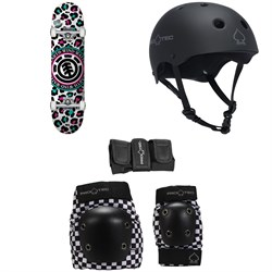 Element Leopard Party 7.7 Skateboard Complete ​+ Pro-Tec The Classic EPS Skateboard Helmet ​+ Pro-Tec Street Gear Junior Skateboard Pads 3-Pack - Big Kids'