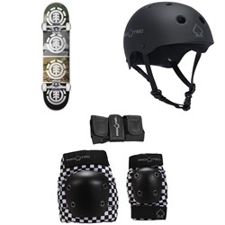 Element Camo Quadrant 7.7 Skateboard Complete ​+ Pro-Tec The Classic EPS Skateboard Helmet ​+ Street Gear Junior Skateboard Pads 3-Pack - Kids'