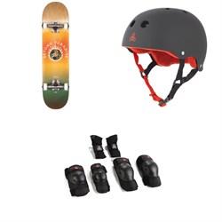Globe G1 Ablaze 7.75 Skateboard Complete + Triple 8 Sweatsaver Liner Skateboard Helmet + Saver Series High Impact Skateboard Pad Set