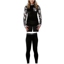 Rojo Outerwear Velvet Funnel Neck Base Layer Top + Velvet Full Length Pants - Women's