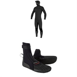 O'Neill 4​/3​+ Hyperfreak Chest Zip Hooded Wetsuit ​+ 3mm Heat RT Boots