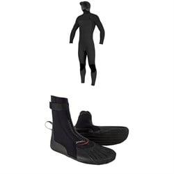 O'Neill 4/3+ Hyperfreak Chest Zip Hooded Wetsuit + 3mm Heat RT Boots