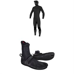 O'Neill 4​/3​+ Hyperfreak Chest Zip Hooded Wetsuit ​+ 3​/2 Psycho Tech Split Toe Wetsuit Boots