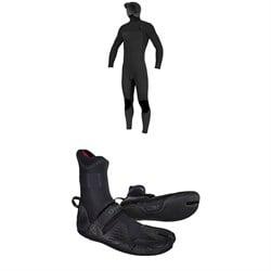 O'Neill 4/3+ Hyperfreak Chest Zip Hooded Wetsuit + 3/2 Psycho Tech Split Toe Wetsuit Boots
