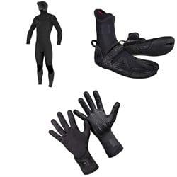 O'Neill 4/3+ Hyperfreak Chest Zip Hooded Wetsuit + 3/2 Psycho Tech Split Toe Wetsuit Boots + 1.5mm Psycho Tech Gloves