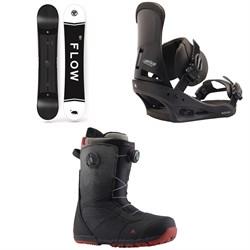 Flow Merc Snowboard 2018 + Burton Custom Snowboard Bindings  + Ruler Boa Snowboard Boots 2019