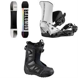 Salomon Huck Knife Snowboard + District Snowboard Bindings + Launch Boa SJ Snowboard Boots 2021